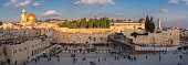 Panorama of Temple Mount - Western Wall and Golden Dome of the Rock in Jerusalem Old City, Israel.