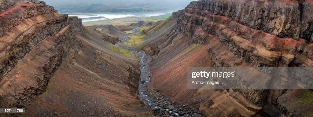 Panoramic-Hengifossargljufur Gorge, Fljotsdalur Valley, Eastern Iceland : Stock Photo
