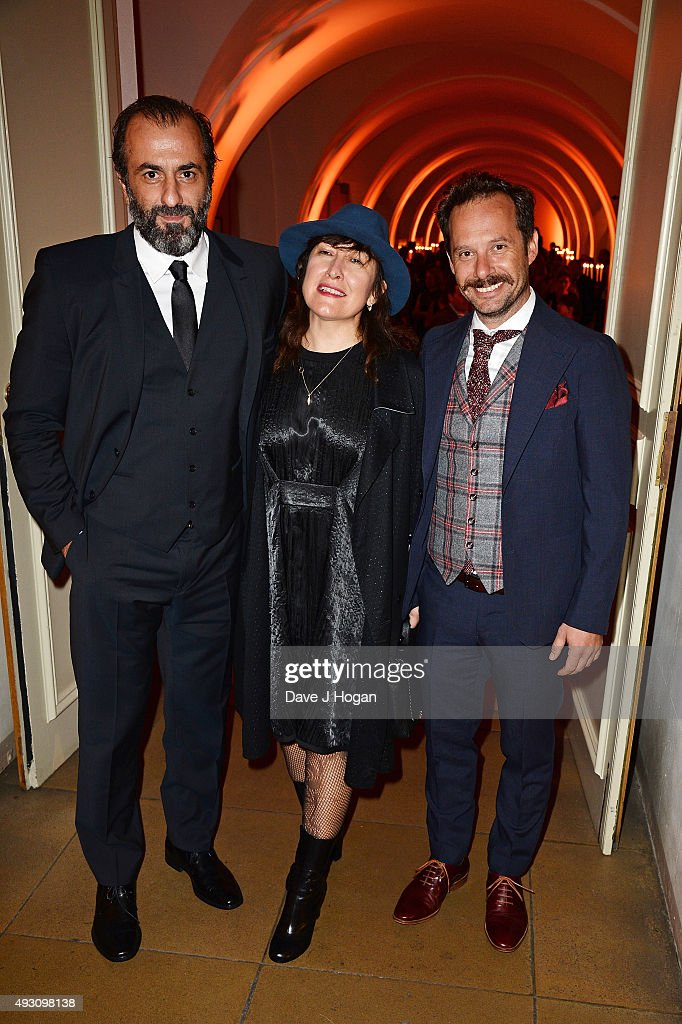 Panos Koronis, Athina Rachel Tsangari and Giorgos Pyrpassopoulos attend the BFI London Film Festival Awards at Banqueting House on October 17, 2015 in London, England.