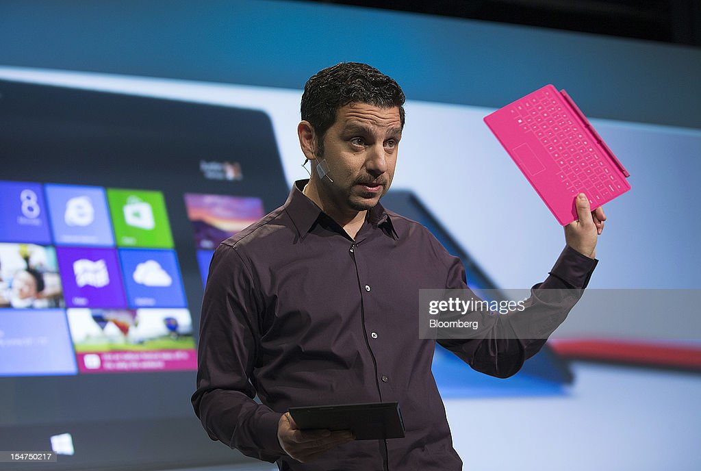 Panos Panay, general manager of Surface at Microsoft Corp., speaks during an event in New York, U.S., on Thursday, Oct. 25, 2012. Microsoft Corp. will be constrained in a contest against Apple Inc. in the market for handheld computers by unveiling a tablet that doesn't work with some of the most widely used downloadable applications. Photographer: Scott Eells/Bloomberg via Getty Images