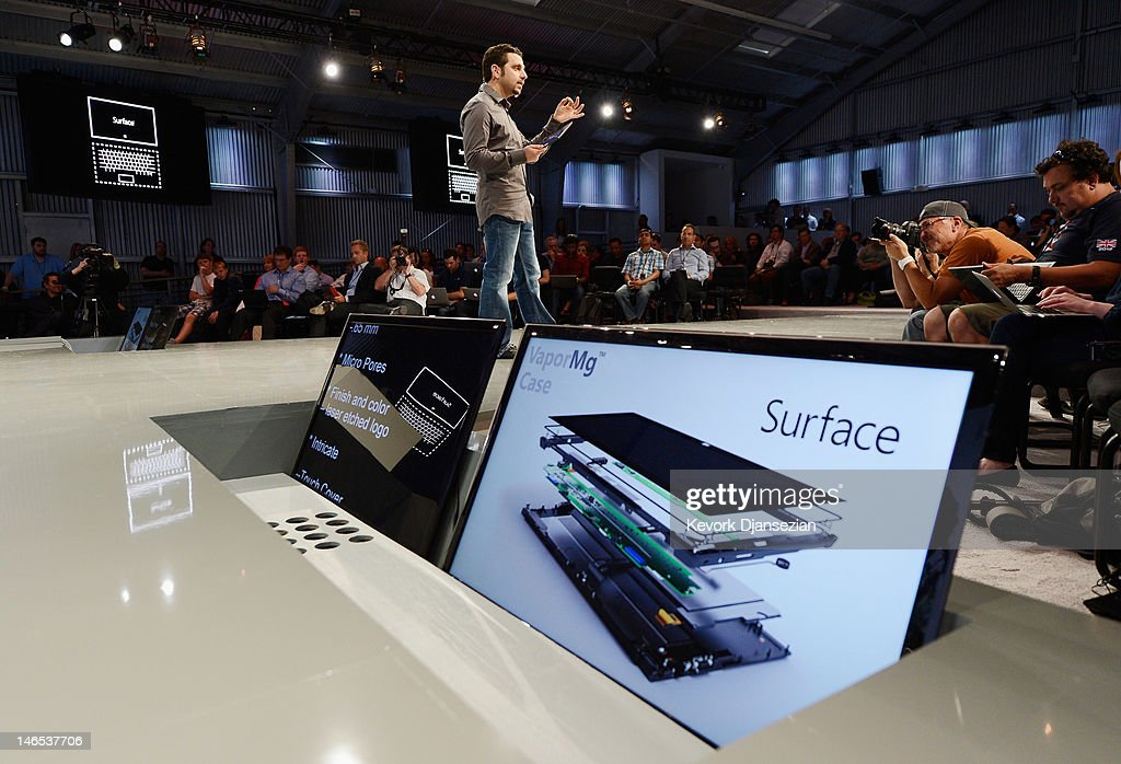 Panos Panay, General Manger of Surface, holds the tablet Surface by Microsoft during a news conference at Milk Studios on June 18, 2012 in Los Angeles, California.The new Surface tablet has a 10.6 inch screen complete with cover that contains a full multitouch keyboard.