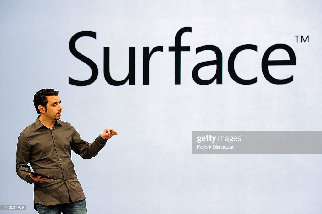 Panos Panay, General Manger of Surface, holds the tablet Surface by Microsoft during a news conference at Milk Studios on June 18, 2012 in Los Angeles, California. The new Surface tablet has a 10.6 inch screen complete with cover that contains a full multitouch keyboard.