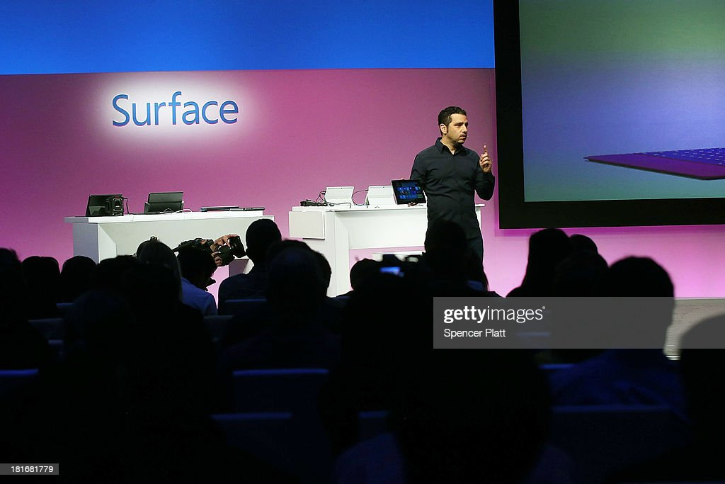 Panos Panay, Microsoft's VP of Surface, introduces introduces a second generation of Surface tablets on September 23, 2013 in New York City.The new Surface family includes two products, Surface 2 and Surface Pro 2. Improvements on the tablets include better battery life, faster processors and Dolby Digital sound. The new devices will be in stores on Oct. 22.