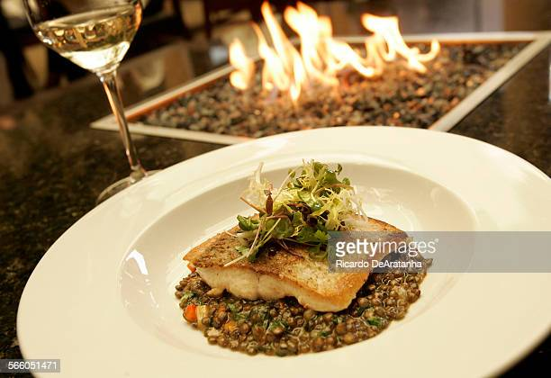 MONICA CA – AUGUST 19 2009 – Panroasted Whitefish with Lentil Parsnip Ragout Baby Spinach Extra Virgin Olive Oil and Micro Greens served at Stefan's...
