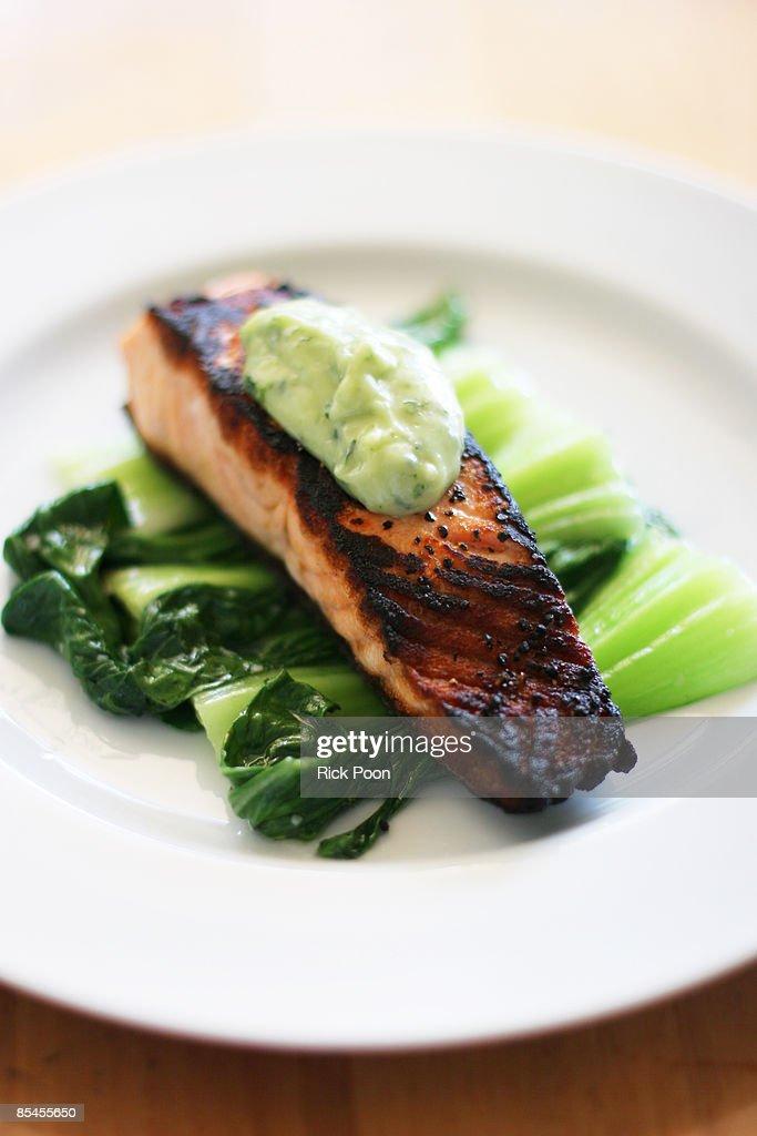 Pan-seared salmon with bok choy and cilantro aioli