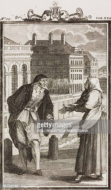 Pantalone and Corallina engraving by Antonio Viviani from a drawing by G Steneri from The Loving Maid Act II Scene 3 Comedies Volume 29 by Carlo...