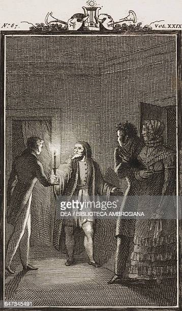 Pantalone holding a candle shows Florindo the bedroomwith Lelio and Rosaura in the doorway engraving by Antonio Viviani from a drawing by G Steneri...