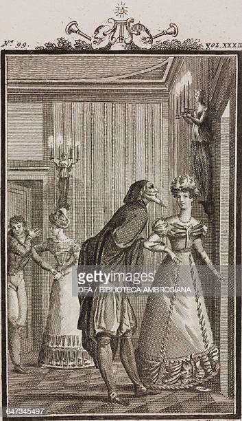 Pantalone with Rosaura with Florindo and Beatrice in the background engraving by Antonio Viviani from a drawing by G Steneri from The obedient...