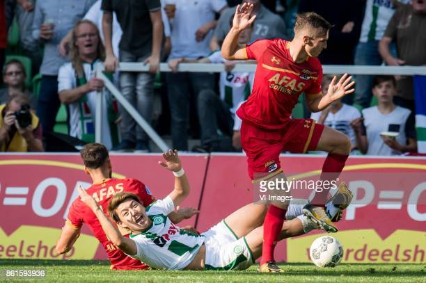 Pantelis Hatzidiakos of AZ Ritsu Doan of FC Groningen penalty during the Dutch Eredivisie match between FC Groningen and AZ Alkmaar at Noordlease...