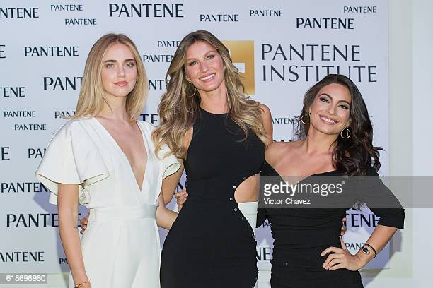 Pantene ambassadresses Chiara Ferragni Gisele Bundchen and Ana Brenda Contreras attend the Pantene Institute launch at Paseo Interlomas on October 27...