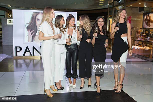 Pantene ambassadresses Chiara Ferragni Paulina Goto Michelle Salas Pamela Allier Ana Brenda Contreras and Gisele Bundchen make a toast during the...