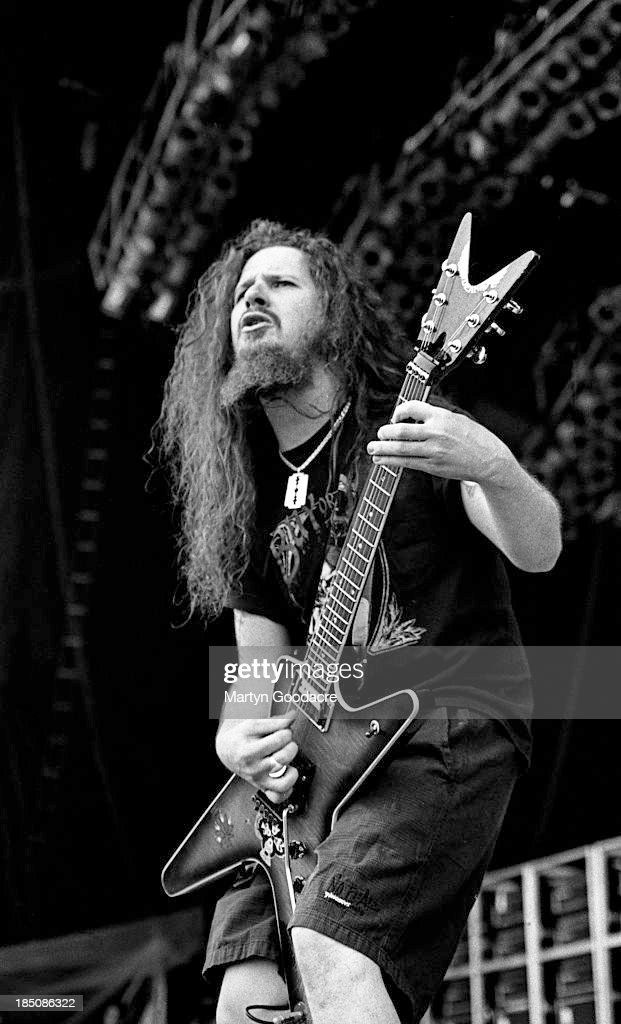 Pantera guitarist Dimebag Darrell live at Castle Donington Monsters of Rock, United Kingdom, 1994.