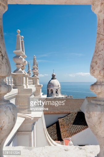 Pantheon from roof of Church Sao Vincente in Lisbon : Stock Photo