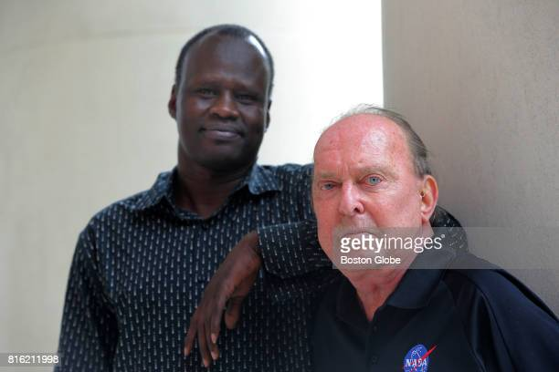 Panther Mayen left and David Reed right pose for a portrait at Brigham and Women's Hospital in Boston June 27 2017 Reed a former NASA Mission Control...