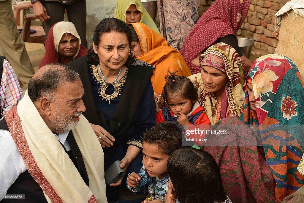 Panther Party Chief Bhim Singh meeting the widow of Hemraj during a visit at slain army soldier Lance Naik Hemraj Singh at village Sherpur of Mathura district on Tuesday.