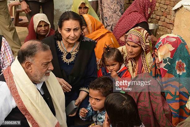 Panther Party Chief Bhim Singh meeting the widow of Hemraj during a visit at slain army soldier Lance Naik Hemraj Singh at village Sherpur of Mathura...