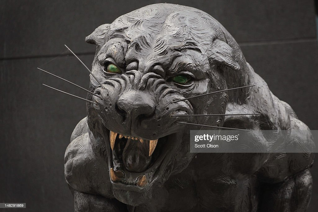 A panther sculpture sits outside The Bank of America Stadium, home for the Carolina Panthers NFL team, on July 11, 2012 in Charlotte, North Carolina. U.S. President Barack Obama will deliver his acceptance speech at the stadium on the final night of the 2012 Democratic National Convention which the city of Charlotte will host September 3-6.