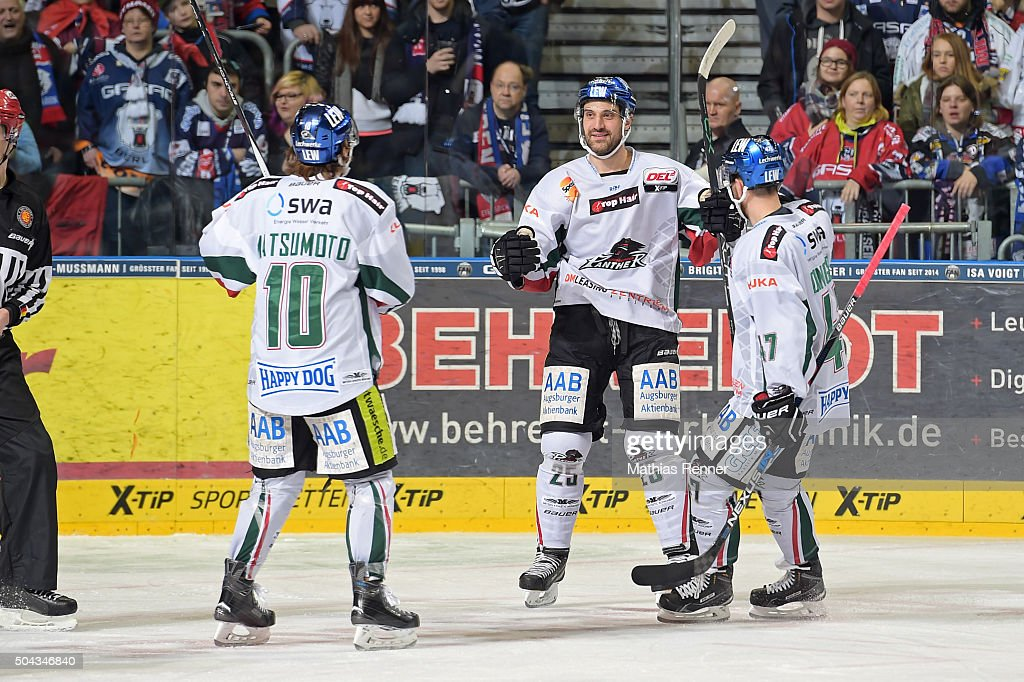 Panther Team celebrates after scoring the 3:1 during the game between the Eisbaeren Berlin and Augsburger Panther on January 10, 2016 in Berlin, Germany.