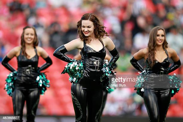 Panthers cheer leaders perform before the round five NRL match between the Penrith Panthers and Canberra Raiders at Sportingbet Stadium on April 5...