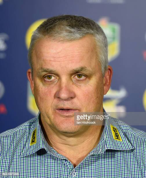Panthers coach Anthony Griffin speaks at the post match media conference at the end of the round 16 NRL match between the North Queensland Cowboys...