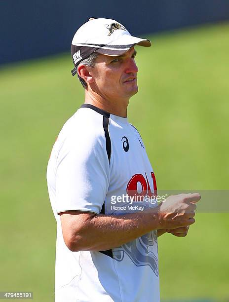 Panthers coach Ivan Cleary watches his team during a Penrith Panthers NRL training session at Sportingbet Stadium on March 19 2014 in Sydney Australia