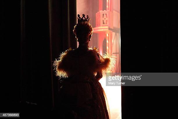 Pantomime Dame Nigel Ellacott waits in the wings at Venue Cymru before going on stage as Queen Blodwyn on December 14 2013 in Llandudno North Wales...