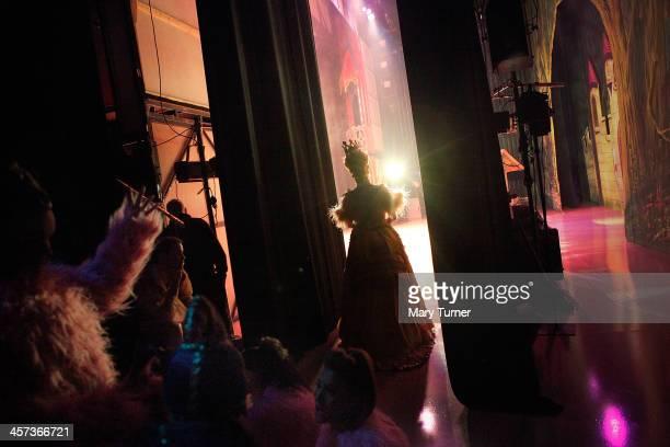 Pantomime Dame Nigel Ellacott waits in the wings at Venue Cymru before returning to the stage as Queen Blodwyn in Sleeping Beauty on December 14 2013...