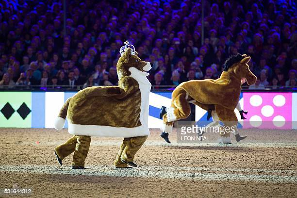 A pantomime horse and corgi perform for The Queen during the final night of The Queen's 90th Birthday Celebrations at the Royal Windsor Horseshow in...