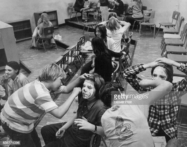 A pantomime skit and an explanation of this art form were followed by a class in whichface makeup for students in Blodwen Robert's music class at...