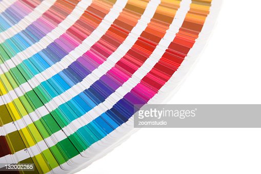 Pantone swatch book on white background : Stock Photo