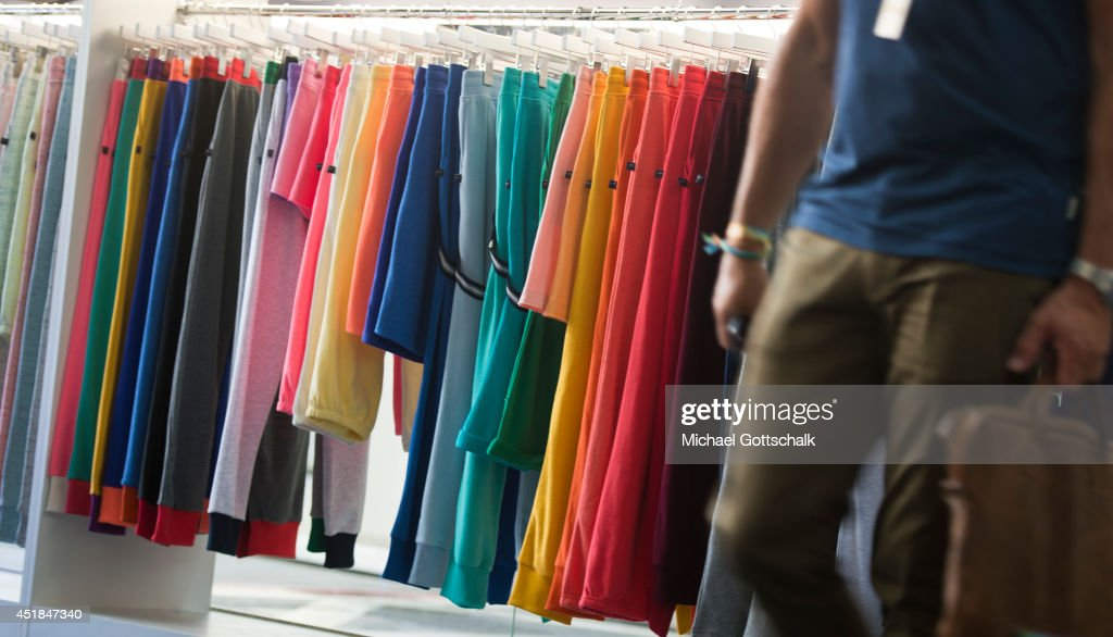 Pants are displayed on a clothes rack at the Bread and Butter trade show at the former Tempelhof airport on July 08, 2014 in Berlin, Germany.