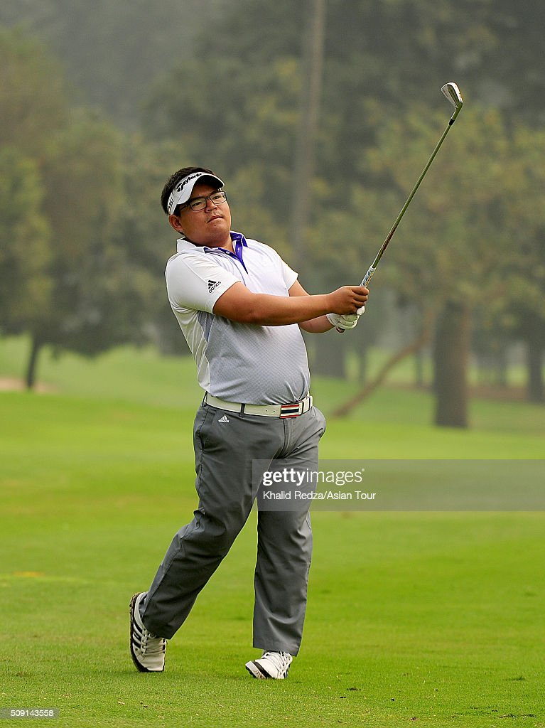 Panuphol Pitayarat of Thailand pictured plays a shot during practice ahead of the Bashundhara Bangladesh Open at Kurmitola Golf Club on February 9, 2016 in Dhaka, Bangladesh.