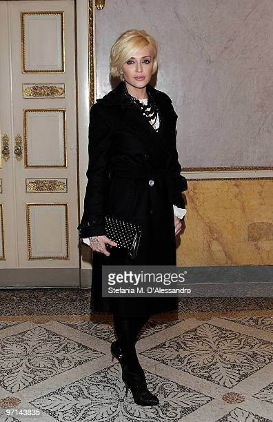 Paola Barale attends Giuseppe Zanotti Design autumnwinter collection on February 27 2010 in Milan Italy