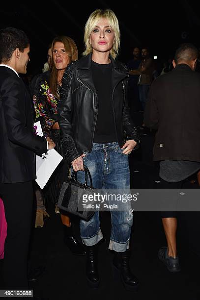 Paola Barale attends the DSquared2 show during the Milan Fashion Week Spring/Summer 2016 on September 26 2015 in Milan Italy