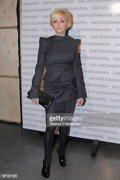 Paola Barale attends the Gaetano Navarra Milan Fashion Week Autumn/Winter 2010 show on February 26 2010 in Milan Italy