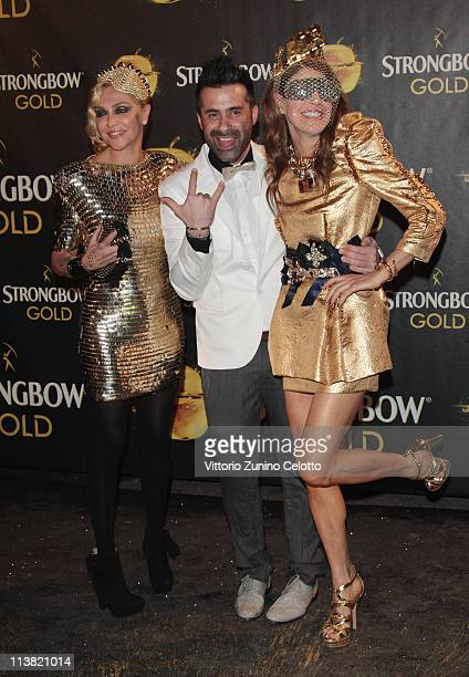 Paola Barale Luca Tomassini Anna Dello Russo attend 'The Gold Experience' red carpet on May 6 2011 in Milan Italy