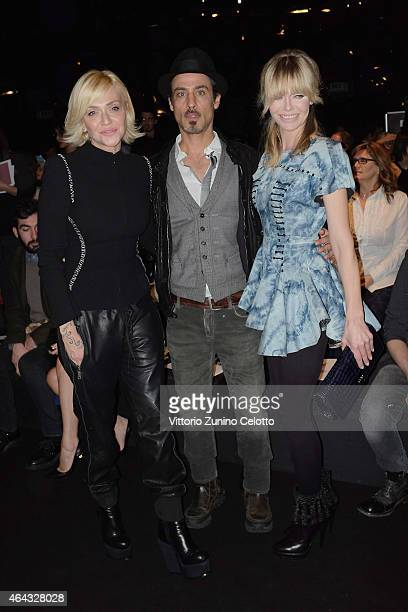 Paola Barale Raz Degan Barbara Snellenburg attends Next Generation fashion shows on February 24 2015 in Milan Italy