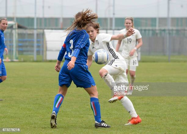 Paola Boglioni of Italy women's U16 competes with Pauline Berning of Germany women's U16 during the 2nd Female Tournament 'Delle Nazioni' match...