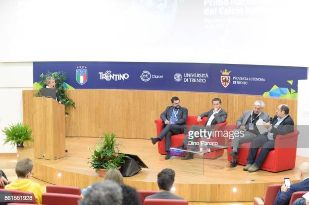 Paola Bottelli Luca Casazza Maurizio Rossini Massimo Banzi and Luca Corsolini attend the second day of the Hackathon Event at the University of...