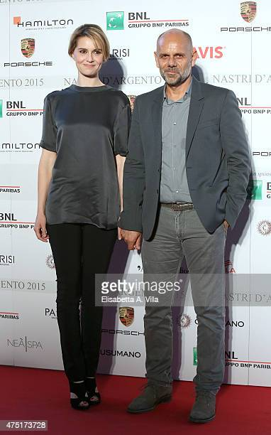 Paola Cortellesi and husband Riccardo Milani attends '2015 Nastro D'Argento Award' Nominees Announcement at Maxxi Museum on May 29 2015 in Rome Italy