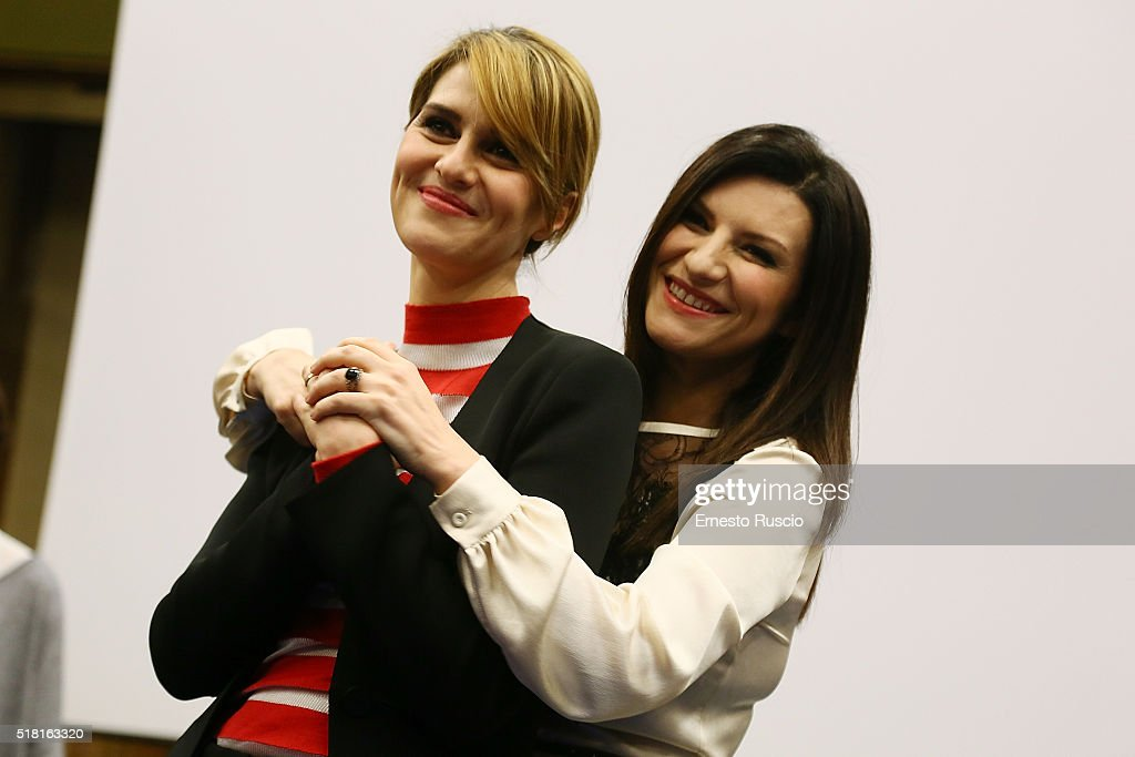Paola Cortellesi and Laura Pausini attend the 'Laura Paola' photocall at RAI on March 30 2016 in Rome Italy