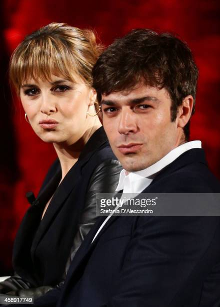 Paola Cortellesi and Luca Argentero attend 'Che Tempo Che Fa' TV Show on December 22 2013 in Milan Italy