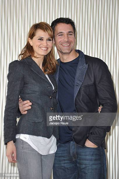 Paola Cortellesi and Raul Bova attend 'Nessuno Mi Puo Giudicare' Milan Photocall at Terrazza Martini on March 14 2011 in Milan Italy
