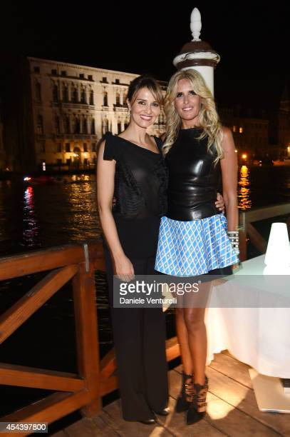 Paola Cortellesi and Tiziana Rocca attend Tiziana Rocca Birthday Party during the 71st Venice Film Festival at Centurion Palace Hotel on August 30...