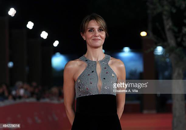 Paola Cortellesi walks the red carpet during the 10th Rome Film Fest at Auditorium Parco Della Musica on October 24 2015 in Rome Italy