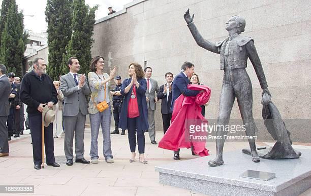 Paola Dominguin and Ana Botella attend the unveiling of a scultpure of the bullfighter Luis Miguel Dominguin at Las Ventas bullring on May 8 2013 in...