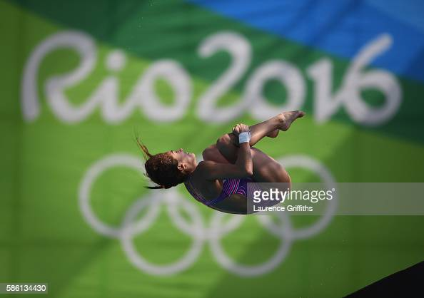 Paola Espinosa Sanchez of Mexico dives off the 10m Board during a Womens Diving training session at the Maria Lenk Aquatics centre on August 5 2016...