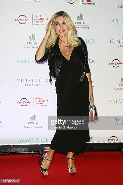Paola Ferrari walks a red carpet at the charity dinner for Amatrice during the 11th Rome Film Festival at Auditorium Parco Della Musica on October 22...