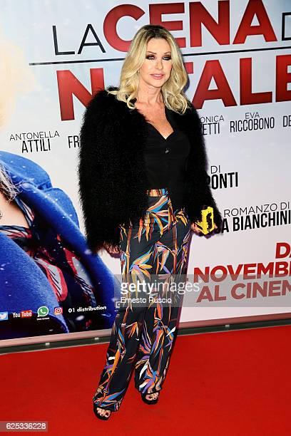 Paola Ferrari walks a red carpet for 'La Cena Di Natale' at Cinema Adriano on November 22 2016 in Rome Italy