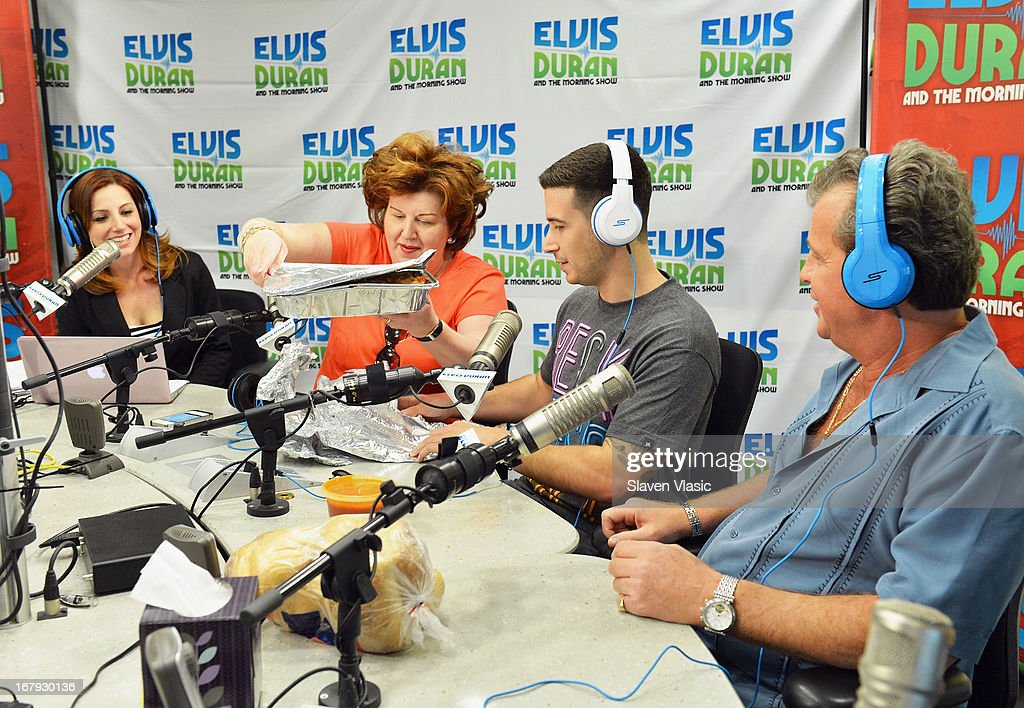 Paola Giaimo, Vincent 'Vinny' Guadagnino and Antonio 'Uncle Nino' Giaimo visit Elvis Duran Z100 Morning Show at Z100 Studio on May 2, 2013 in New York City.